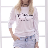 Cotton Women Sweatshirts printed letter white Sold By PC