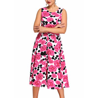 Spandex & Polyester One-piece Dress, different size for choice, printed, floral, fuchsia, Sold By PC
