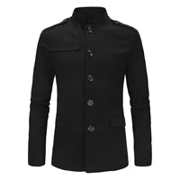 Cotton Men Coat Solid
