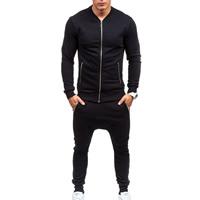 Polyester   Cotton Men Casual Set Pants   coat Solid black