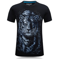 Cotton Plus Size Men Short Sleeve T-Shirt printed animal prints black Sold By PC