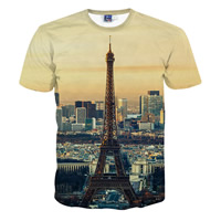 Polyester Men Short Sleeve T-Shirt, different size for choice, printed, geometric, Apricot, Sold By PC