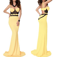Spandex & Polyester Long Evening Dress backless floor-length & hollow with Lace patchwork yellow Sold By PC