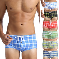 Nylon Swimming Trunks printed plaid Sold By PC
