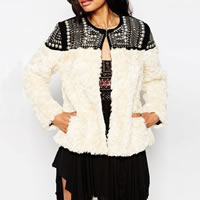 Fake Fur Women Coat studded patchwork beige Sold By PC