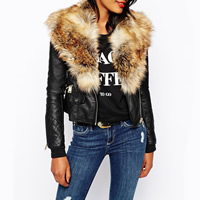 Fake Fur & PU Leather Plus Size Women Coat patchwork Sold By PC