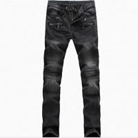 Denim Men Jeans washed patchwork