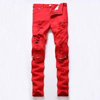 Cotton Men Pencil Pants, different size for choice, frayed, Solid, red, Sold By PC
