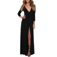 Polyester Long Evening Dress, different size for choice, Solid, black, Sold By PC