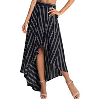 Spandex & Polyester Asymmetrical Skirt printed striped Size:Free Size Sold By PC