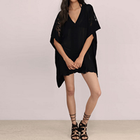 Chiffon Swimming Cover Ups hollow   transparent with Lace embroider patchwork Sold By PC