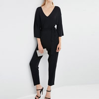 Polyester Long Jumpsuit Solid black Sold By PC