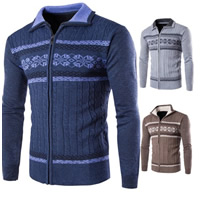 Polyester   Cotton Men Sweater knitted geometric Sold By PC