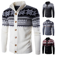Polyester & Cotton Men Cardigan, different size for choice, knitted, patchwork, more colors for choice, Sold By PC