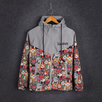 Acrylic   Polyester reflective Men Outdoor Jacket loose printed Cartoon