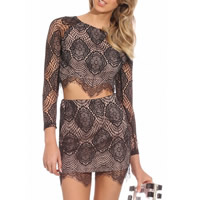 Polyester & Cotton Crop Top Nightclub Set short front long back & hollow with Lace skirt & top patchwork black Sold By Set