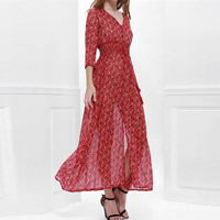 Chiffon One-piece Dress, different size for choice, printed, floral, red, Sold By PC