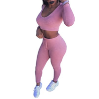 Cotton Women Sportswear Set Pants   top Solid pink