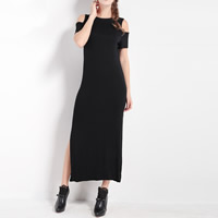 Polyester One-piece Dress, different size for choice & off shoulder, Solid, black, Sold By PC