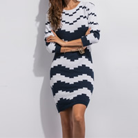 Cotton Autumn and Winter Dress, geometric, white and black, Size:Free Size, Sold By PC