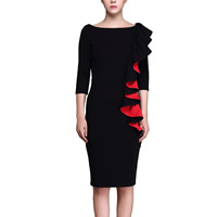Polyester   Cotton Plus Size Autumn and Winter Dress knee-length patchwork black Sold By PC