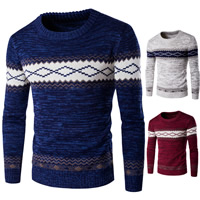 Cotton Men Sweater thermal knitted geometric