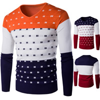 Cotton Men Sweater, different size for choice, knitted, patchwork, more colors for choice, Sold By PC
