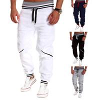 Polyester   Cotton Men Sports Pants loose patchwork