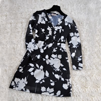 Chiffon A-line Autumn and Winter Dress, different size for choice, printed, floral, black, Sold By PC