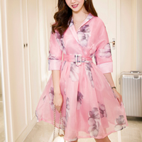 Organza Ball Gown One-piece Dress with belt printed floral pink Sold By PC