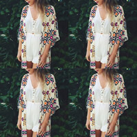 Chiffon Swimming Cover Ups, different size for choice, printed, geometric, white, Sold By PC