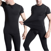 Spandex   Polyester Men Quick Dry Tops