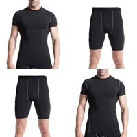Spandex   Polyester Men Quick Dry Clothing Set short   top patchwork