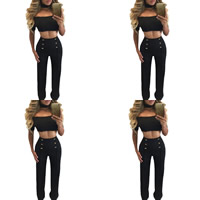 Spandex & Polyester Crop Top Nightclub Set off shoulder Pants & top Solid Sold By PC