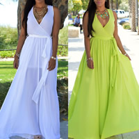 Chiffon One-piece Dress floor-length Solid Sold By PC