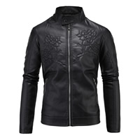 PU Plus Size Men Jacket, different size for choice, floral, black, Sold By PC