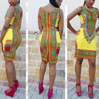 Spandex   Polyester Sexy Package Hip Dresses printed geometric yellow