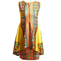 Spandex   Polyester One-piece Dress printed geometric yellow