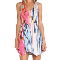Polyester One-piece Dress, different size for choice, geometric, blue, Sold By PC