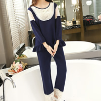 Cotton Maternity Sleepwear with Lace top   bottom patchwork deep blue