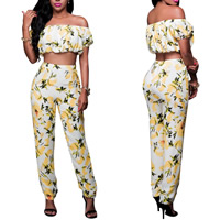 Polyester Crop Top Nightclub Set off shoulder Pants & top printed floral white Sold By Set
