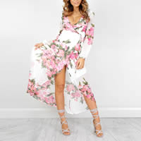 Chiffon Beach Dress ankle-length printed floral white Sold By PC