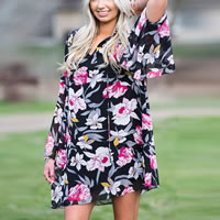 Chiffon One-piece Dress, different size for choice & transparent, printed, floral, black, Sold By PC