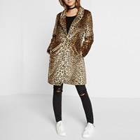 Fake Fur Plus Size Women Coat printed leopard brown Sold By PC