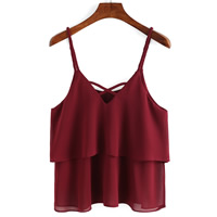 Chiffon Sleeveless Nightclub Top Solid wine red Size:Free Size Sold By PC