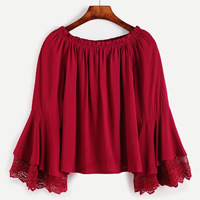 Polyester Women Long Sleeve Blouses, with Lace, patchwork, red, Size:Free Size, Sold By PC