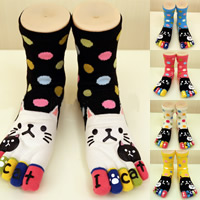 Cotton Women Five Toes Socks deodorant   sweat absorption   thermal   breathable printed Cartoon Size:Free Size Sold By Pair