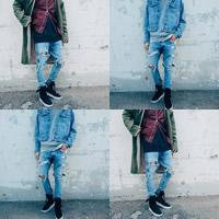 Denim Men Jeans frayed Solid light blue