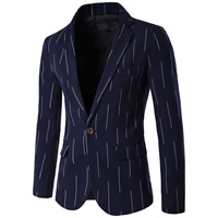 Polyester   Cotton Plus Size Men Leisure Suit geometric deep blue
