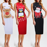 Polyester & Cotton One-piece Dress knee-length different color and pattern for choice Sold By PC
